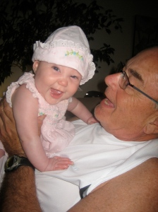 Ellisa and Grandpa Tom having fun