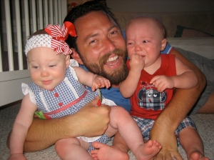 Daddy with the twins