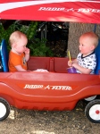 The peanuts in their new Radio Flyer