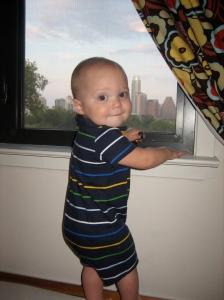 Hudson enjoying his view