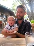 Daddy and Hudson enjoying a brew