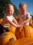 Ellisa and Hudson playing with pumpkins