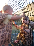 Hudson and Ellisa playing at the net