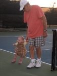 Ellisa and Grandpa Walsh on the courts