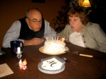 Grandpa Tom and Twin Sister Mary Jo Blowing out their Candles