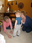 Maureen and Mary Jo Trying to get Hudson to Fall Down