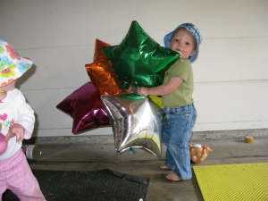 Hudson Hogging the Balloons