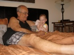 Grandpa Walsh and Ellisa Laughing in Bed